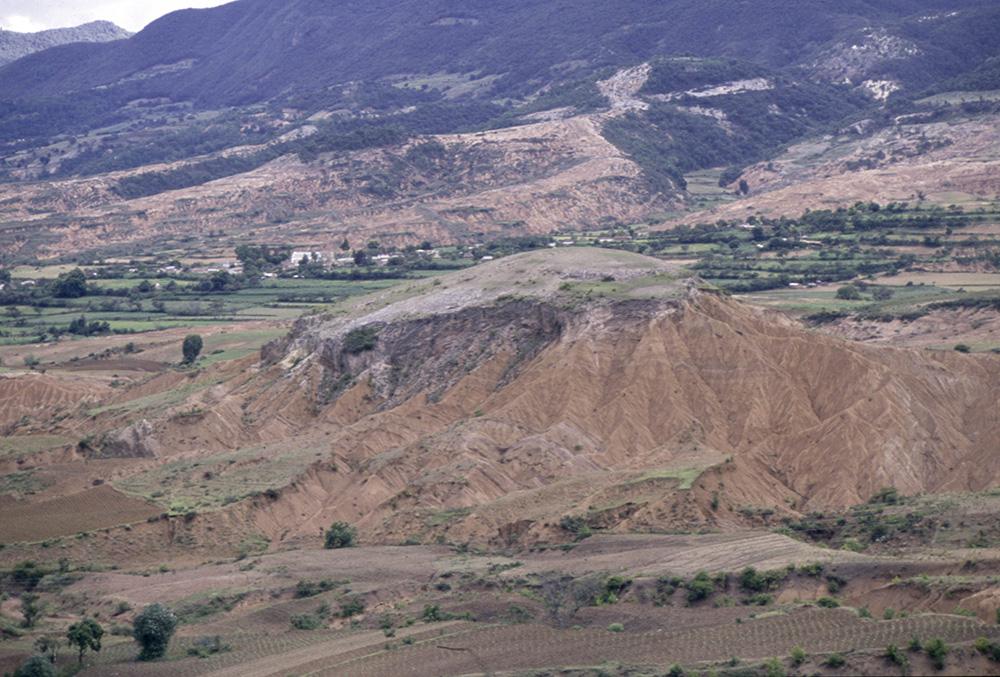 Eroded landscape at Yanhuitlán, Mixteca Alta, Oaxaca