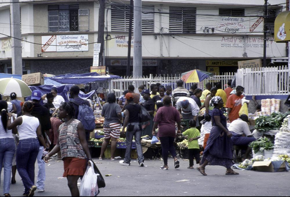 Informal market in shopping area of central Kingston