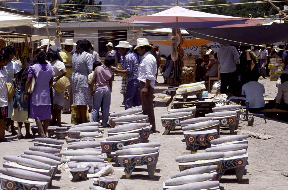 Stone rolling pins for grinding maize to make tortillas – Tlacolula, Oaxaca, Mexico